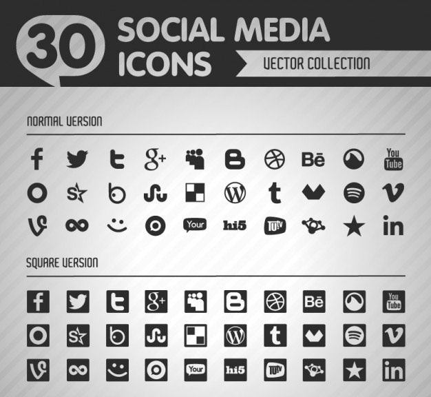 30 black normal and square shaped social media icons