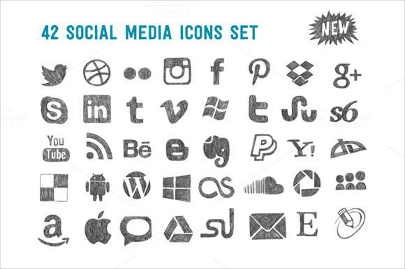 42 new social media icon set