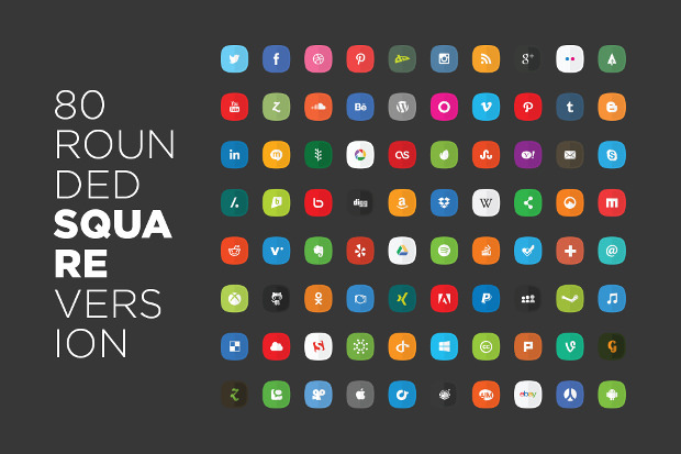 80 rounded square social media icons png