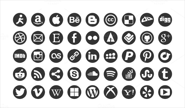 black and white round social media icon set