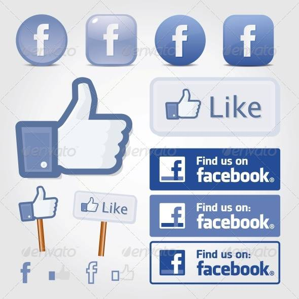 flat facebook social icon set