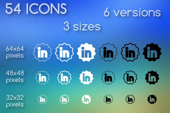 flower shape linkedin icon set