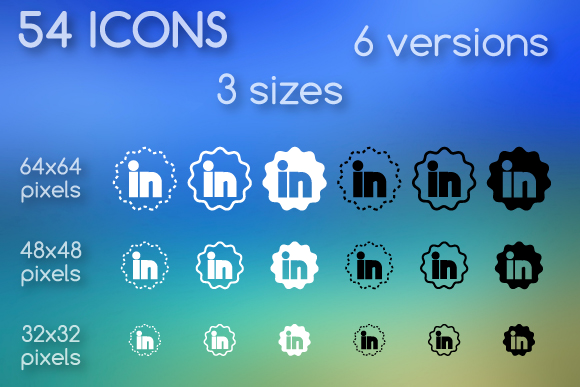 flower shaped version of linkedin icons