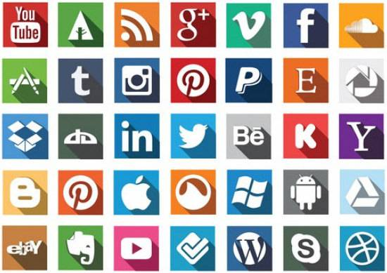 social media icons with long shadow