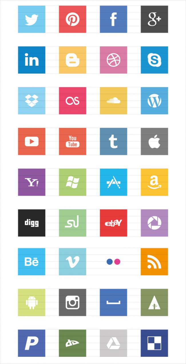 square flat social media icons set e1459932352713
