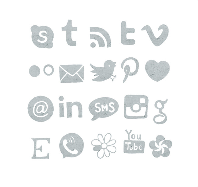 stylished gray social media icons