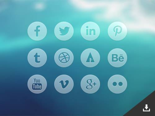 trasparent blue social icons