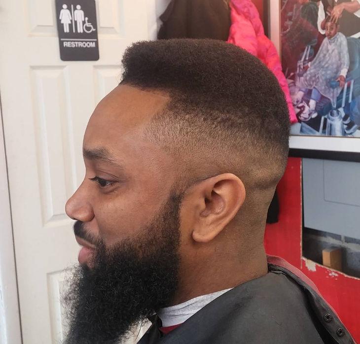 skin fade hairstyle idea for beard men