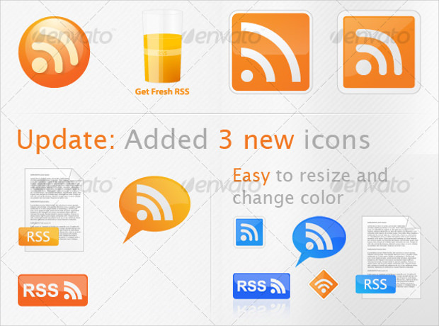 set of seven rss vector icons