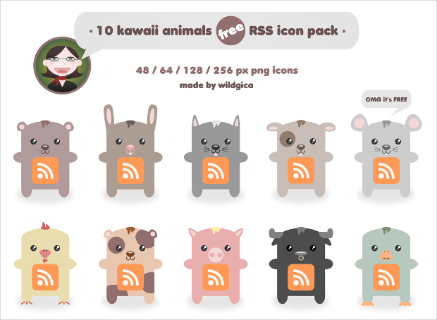 Kawaii Animals RSS Icon Pack