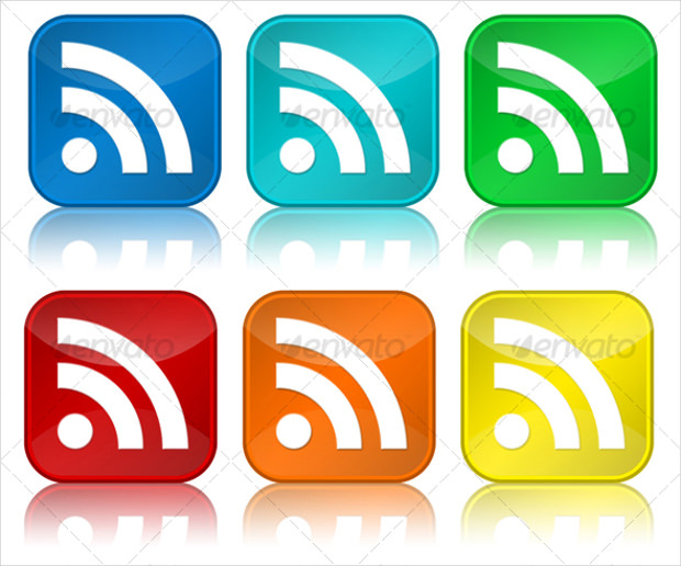 glossy rss icons with different colours