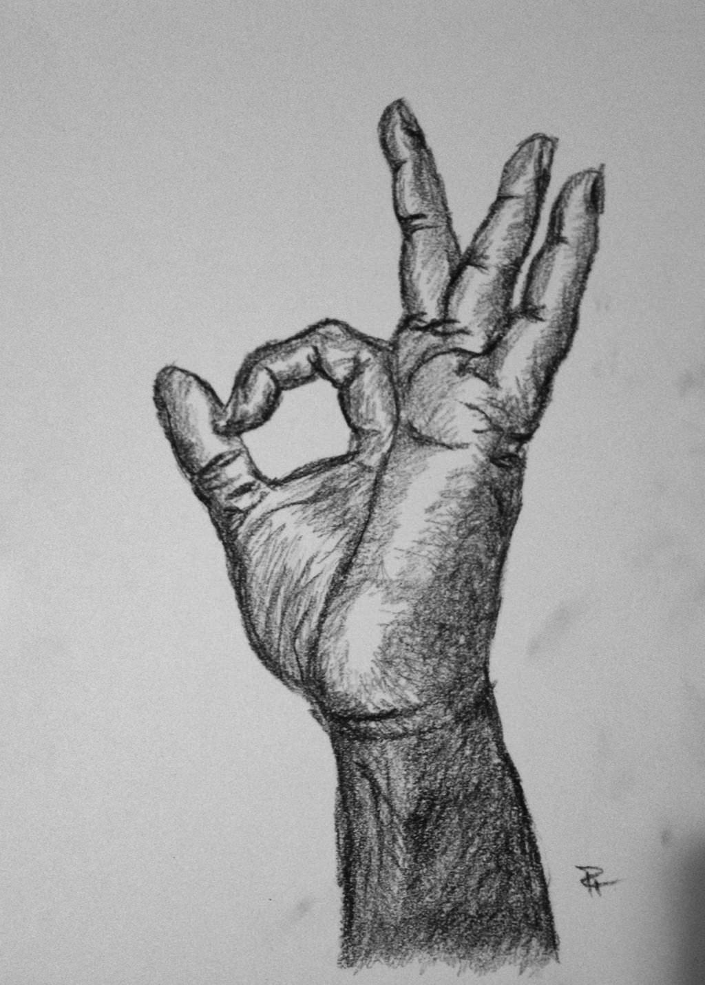 okay hand charcoal drawing