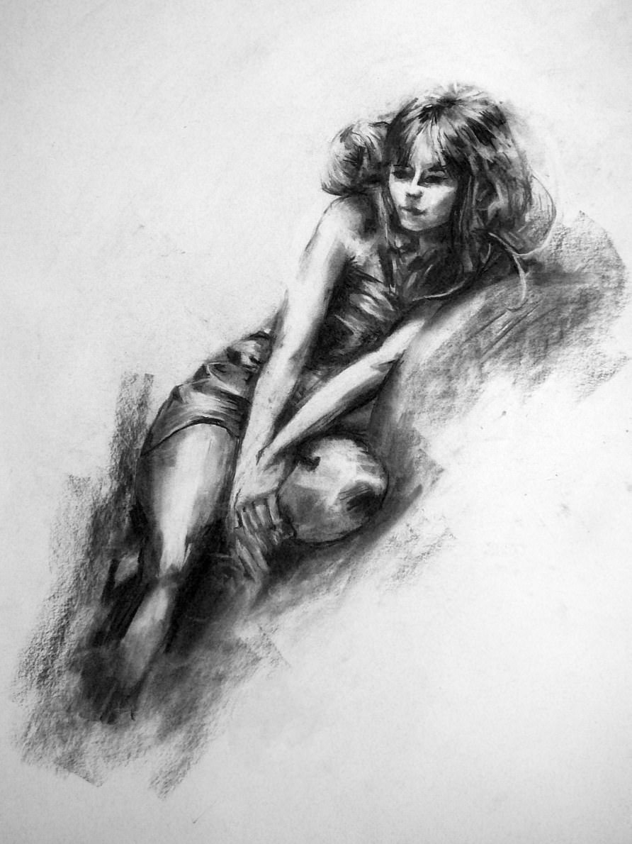 charcoal girl drawing
