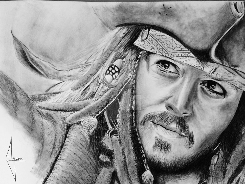 johnny depp charcoal drawing
