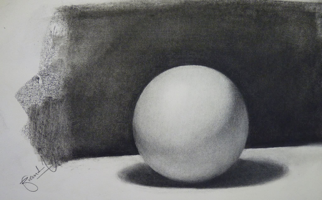 sphere charcoal drawing