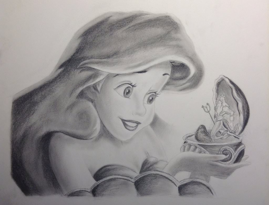 the little mermaid charcoal drawing