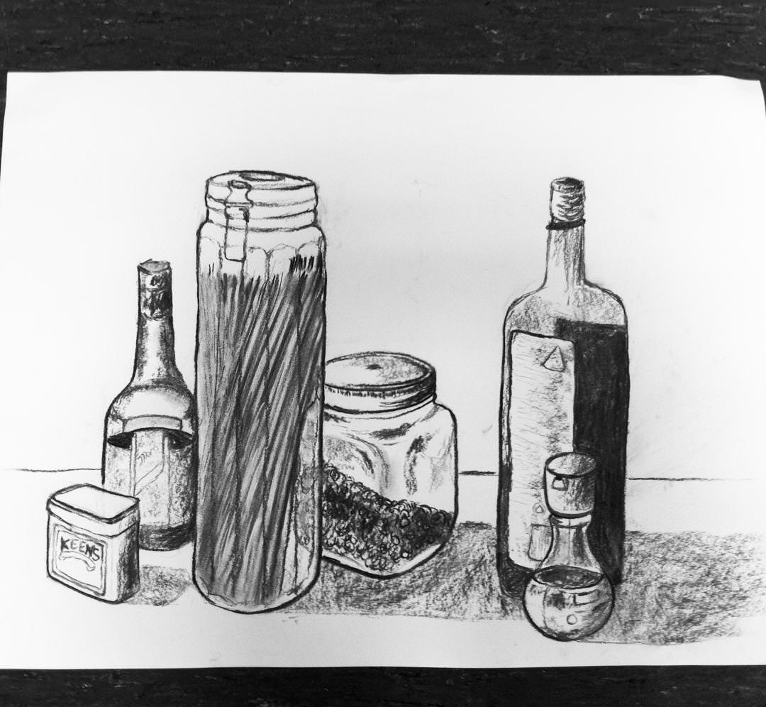 bottels and glasses charcoal drawing