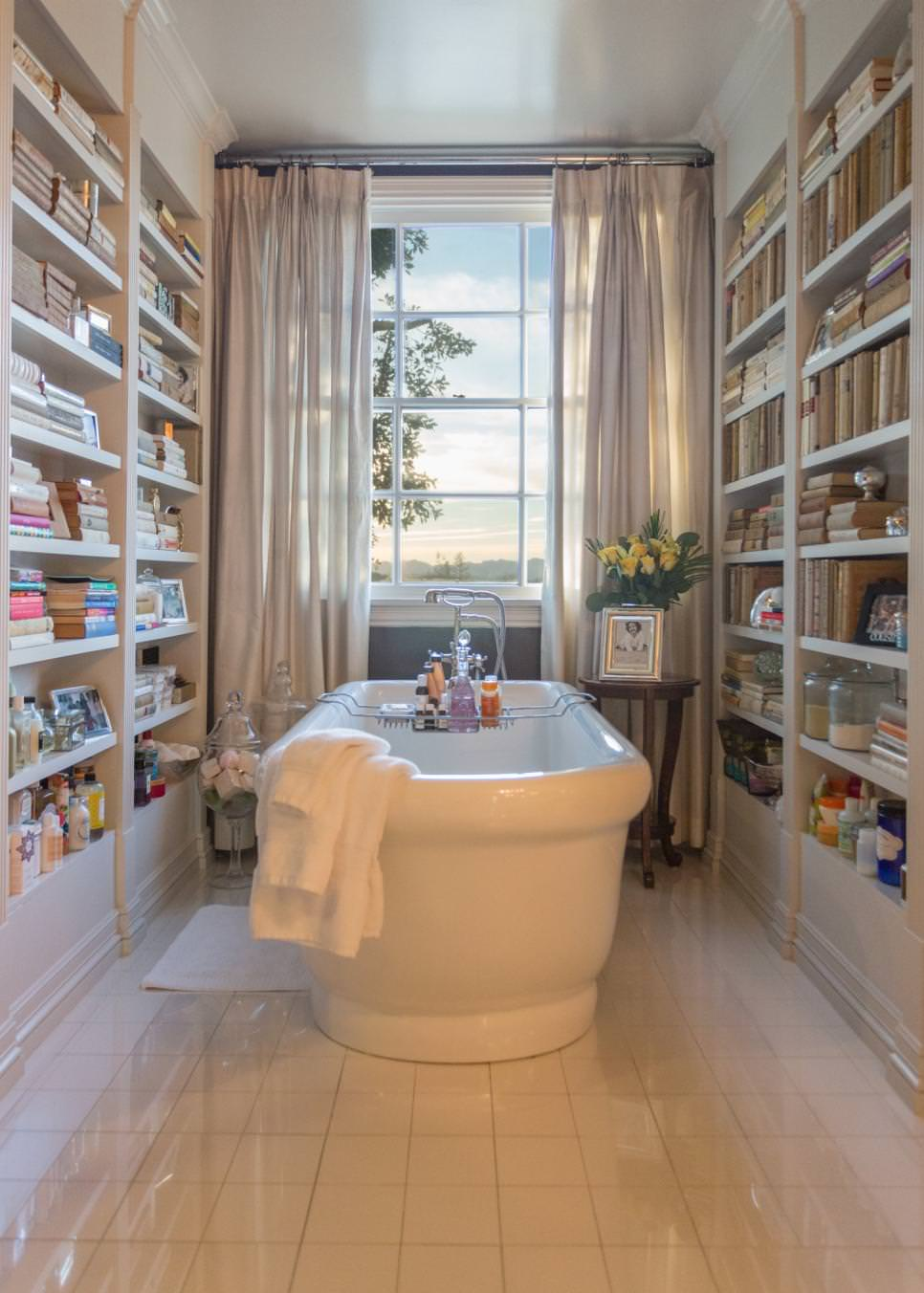 Celebrity Bathroom With Built-In Bookshelves