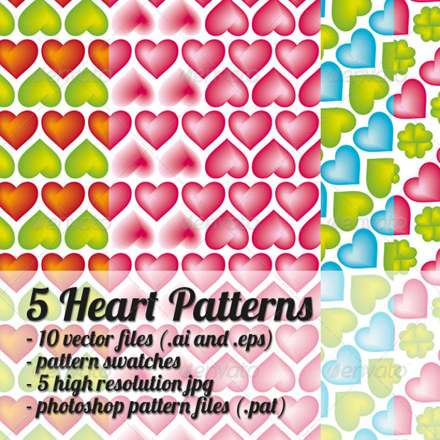 Five Different Heart Patterns