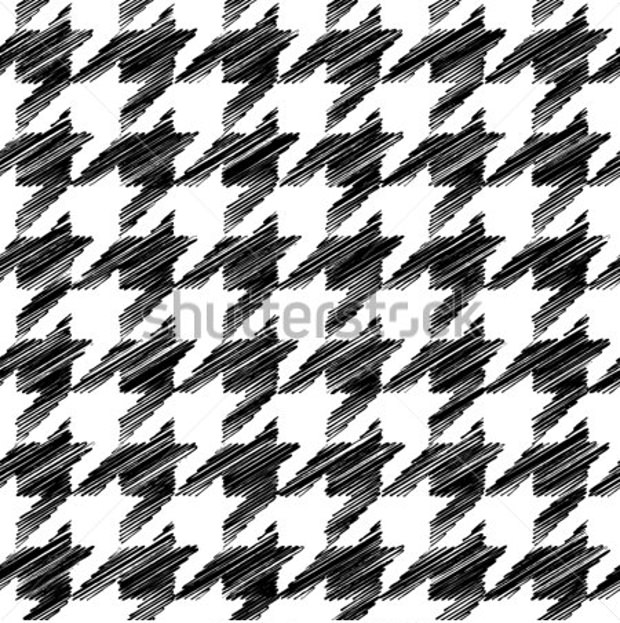 Scribble Houndstooth Vector Seamless Pattern