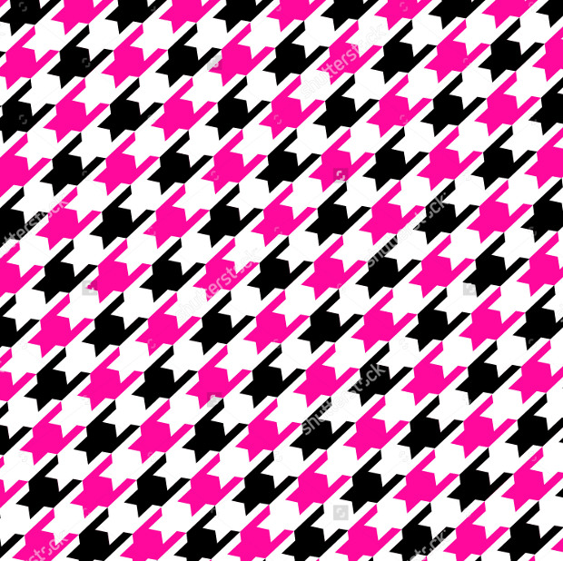 Pink and Black Geometric Houndstooth Pattern