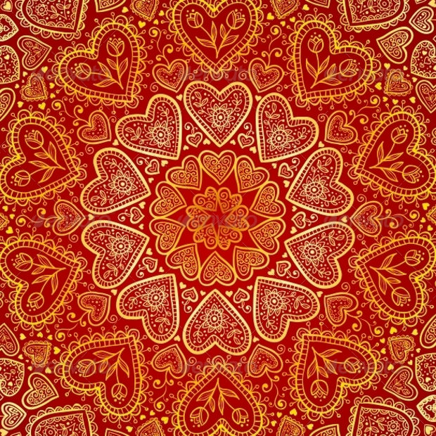 Ornamental Style Heart Patterns