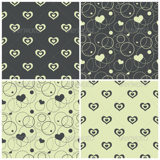eight seamless patterns with heart