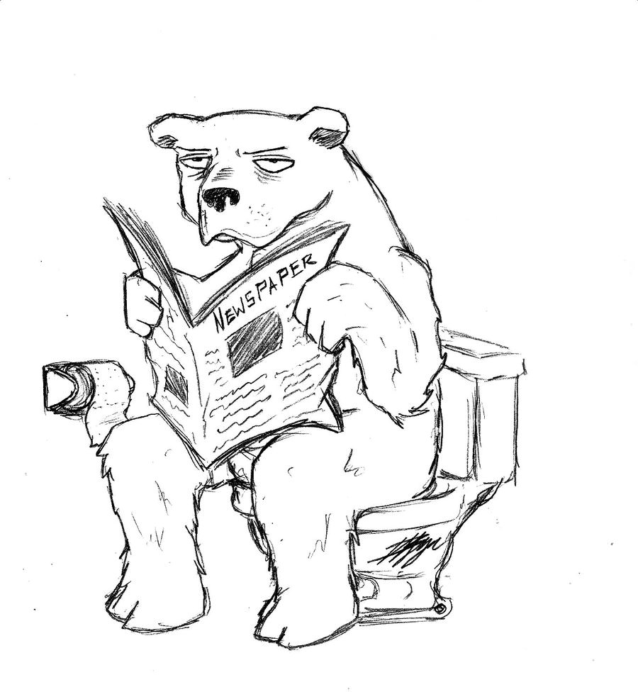 Funny Bear Reading Newspaper