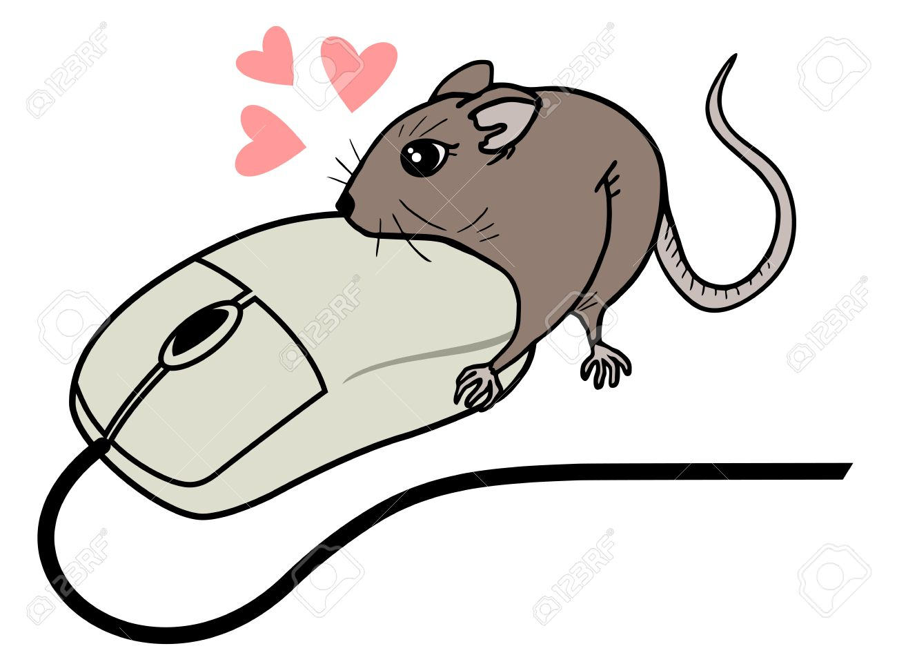 Funny Computer Mouse and Mouse Drawing