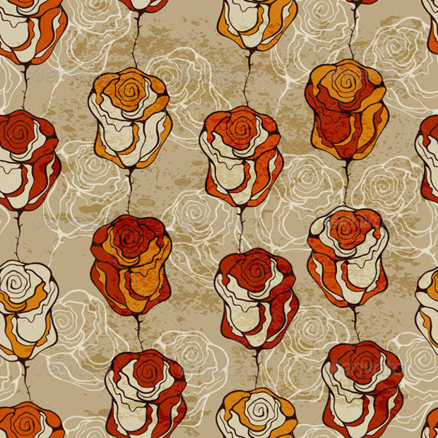 Funky Roses Seamless Pattern