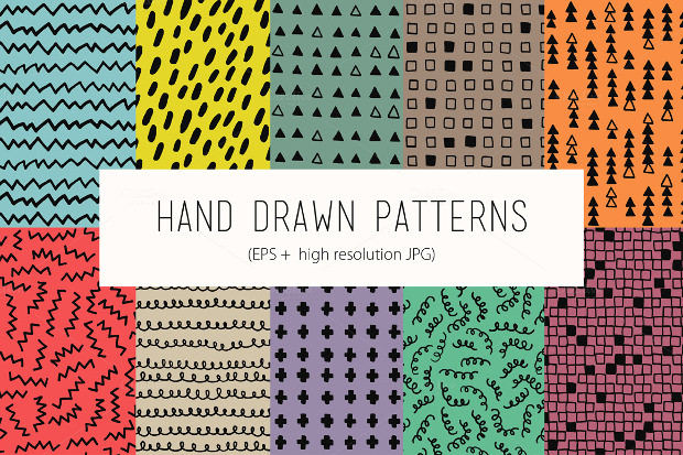10 Funny Hand Drawn Patterns