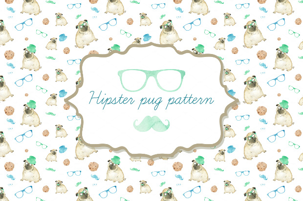 Pug Hipster Pattern