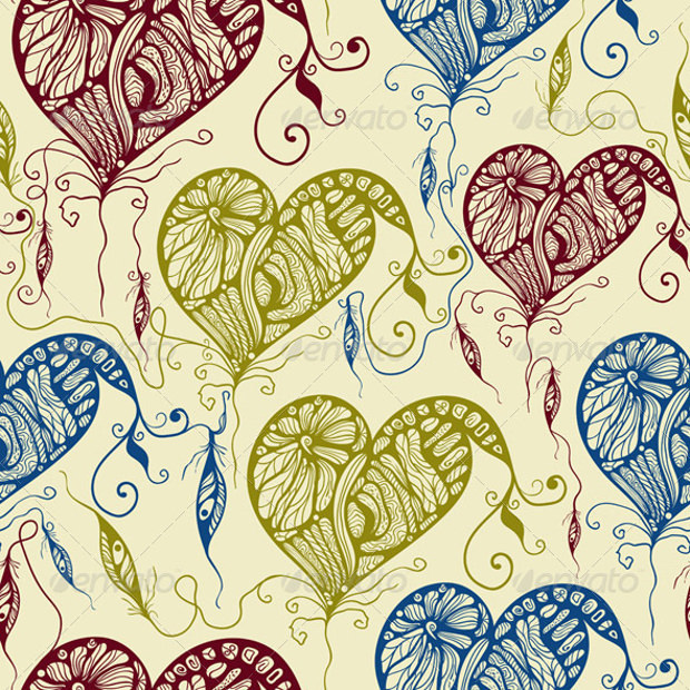 Funky Bright Hearts and Festhers Pattern