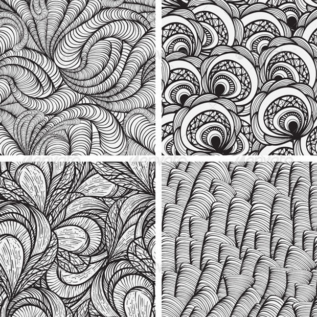 4 Monochrome Vector Seamless Pattern