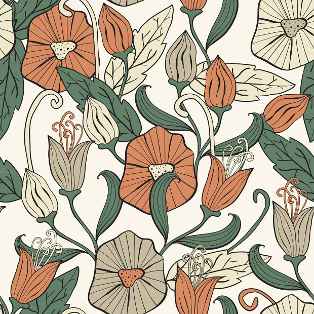 Floral Seamless Funky Pattern