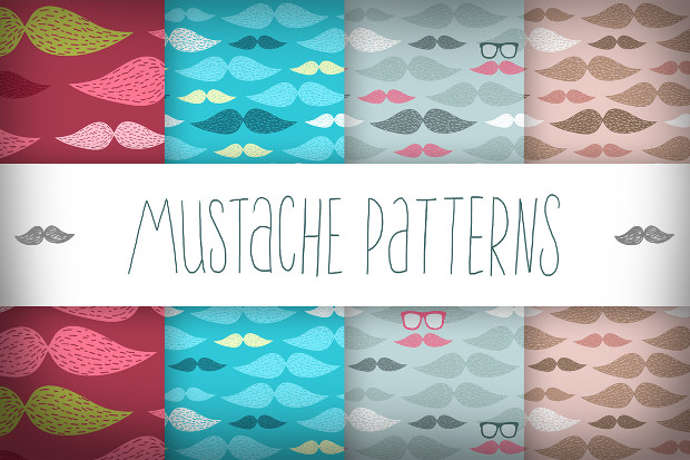 mustache funky pattern