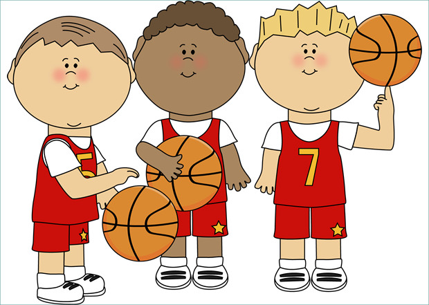 Cute Children Playing Basketball Clipart