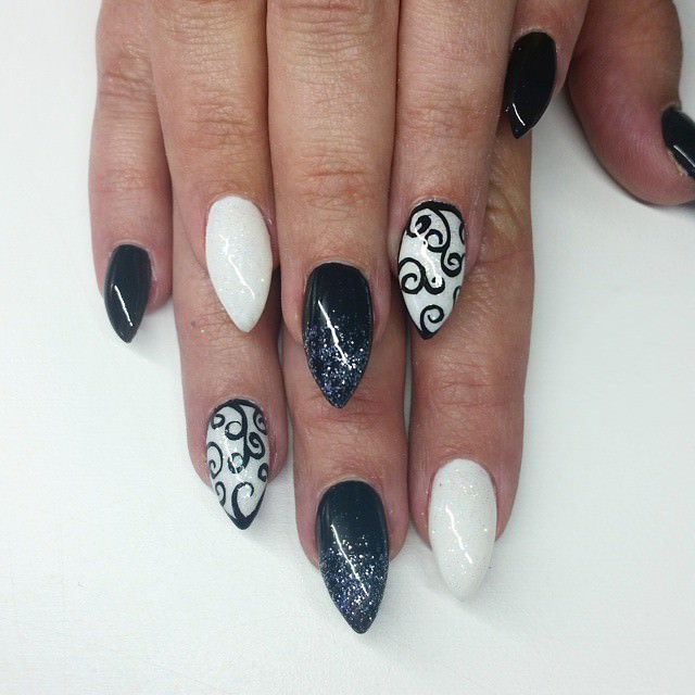 white simple short stiletto nail design