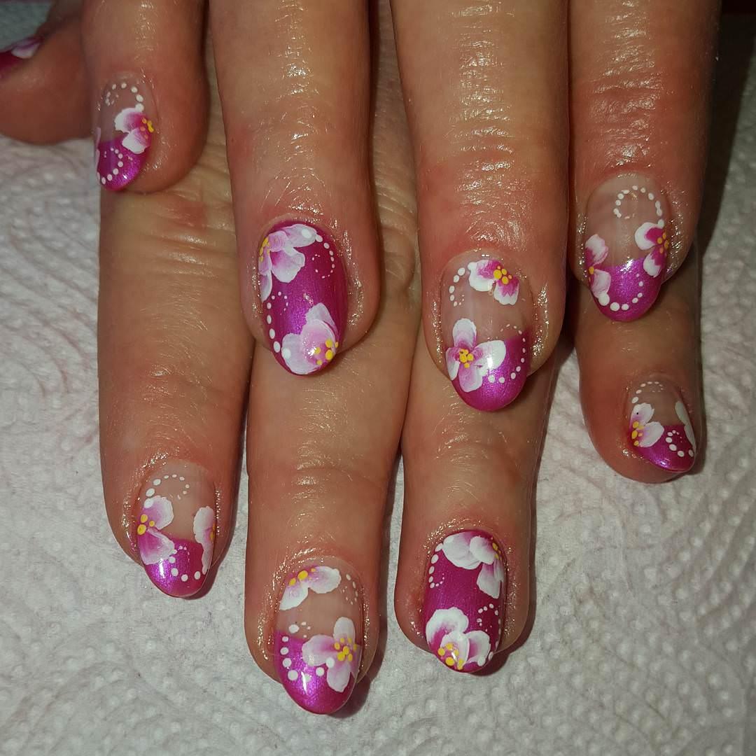 White & Pink Nail Design