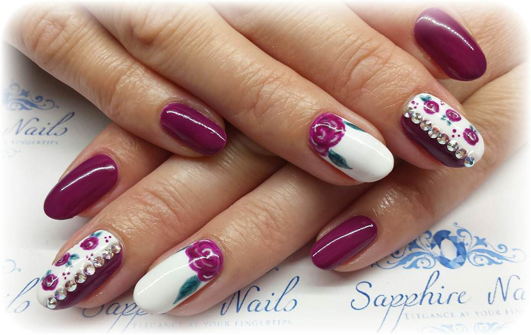 Purple Flowers Nail Design