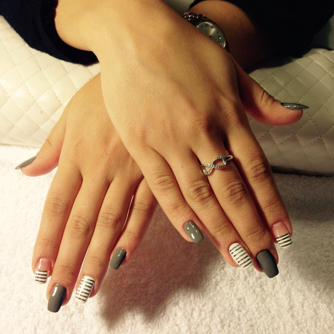 Grey Color Stripe Nail Design