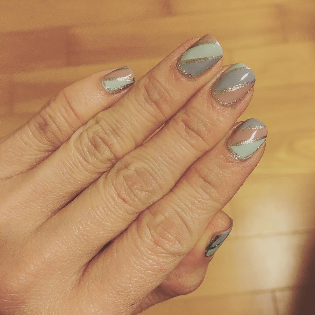 Glitter Stripe Nail Design