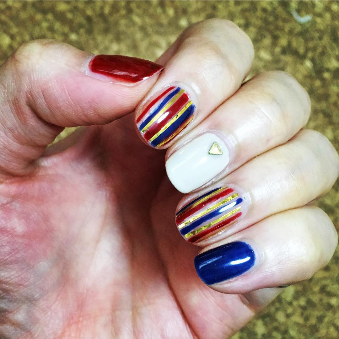 Multi Color Stripe Nail Design