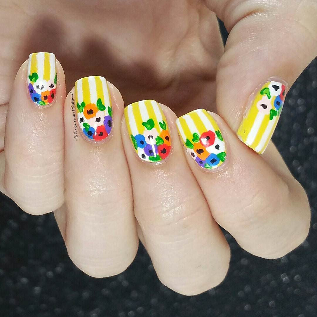 Yellow Lines Stripe Nail Design