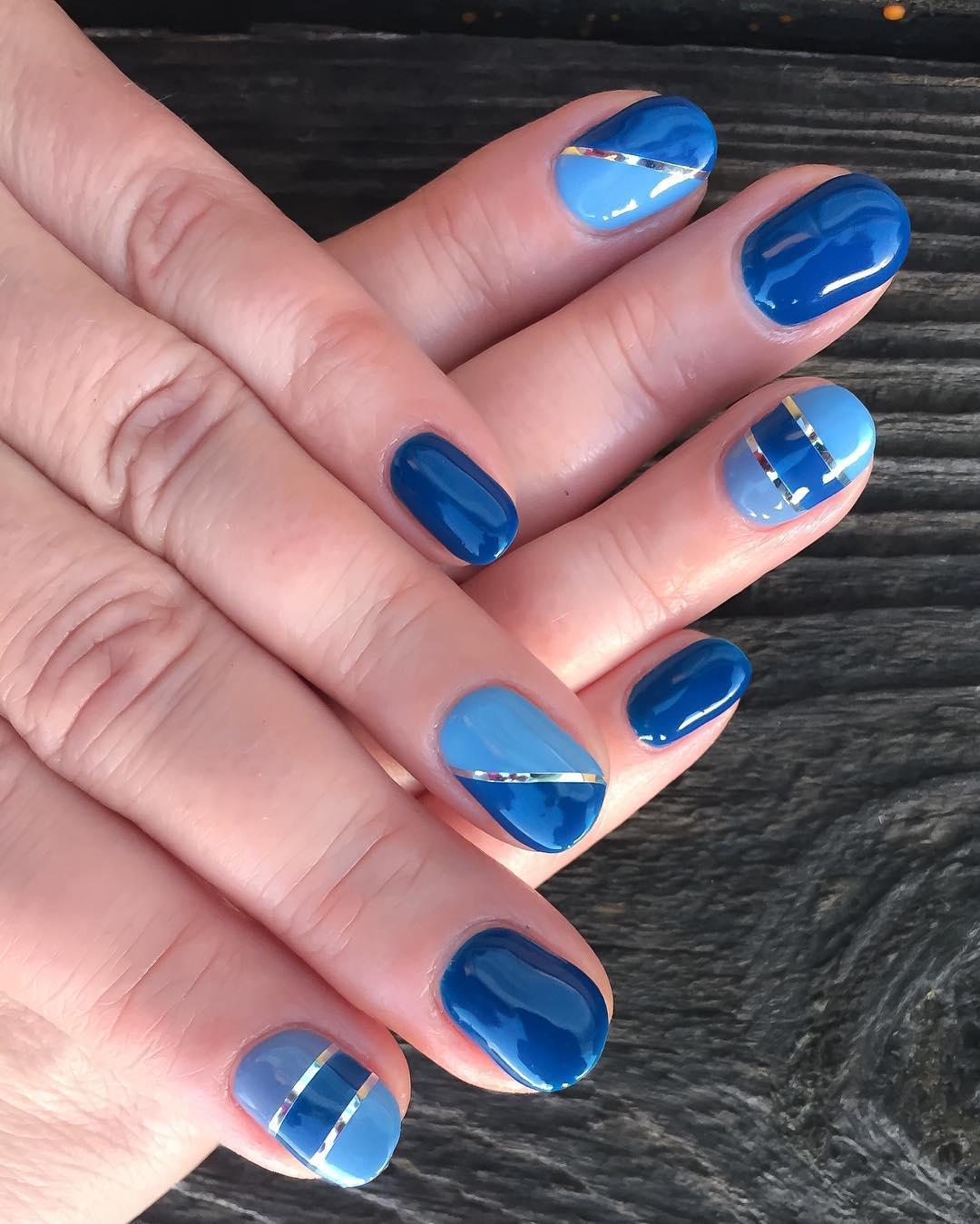 Blue Glitter Line Stripe Nail Design