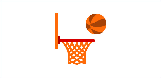 Cool Orange Net Of Basketball Clipart