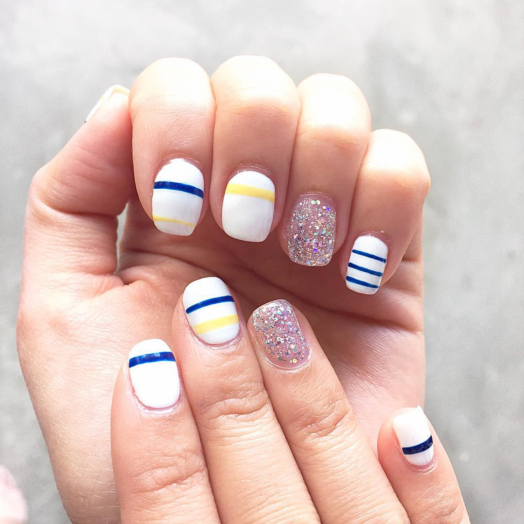Beautiful Blue Line Stripe Nail Design