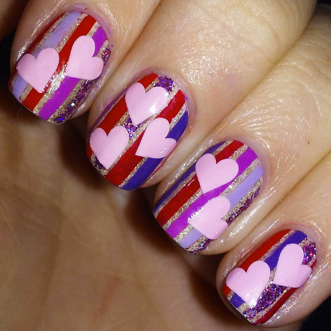 Pink Love Stripe Nail Designs
