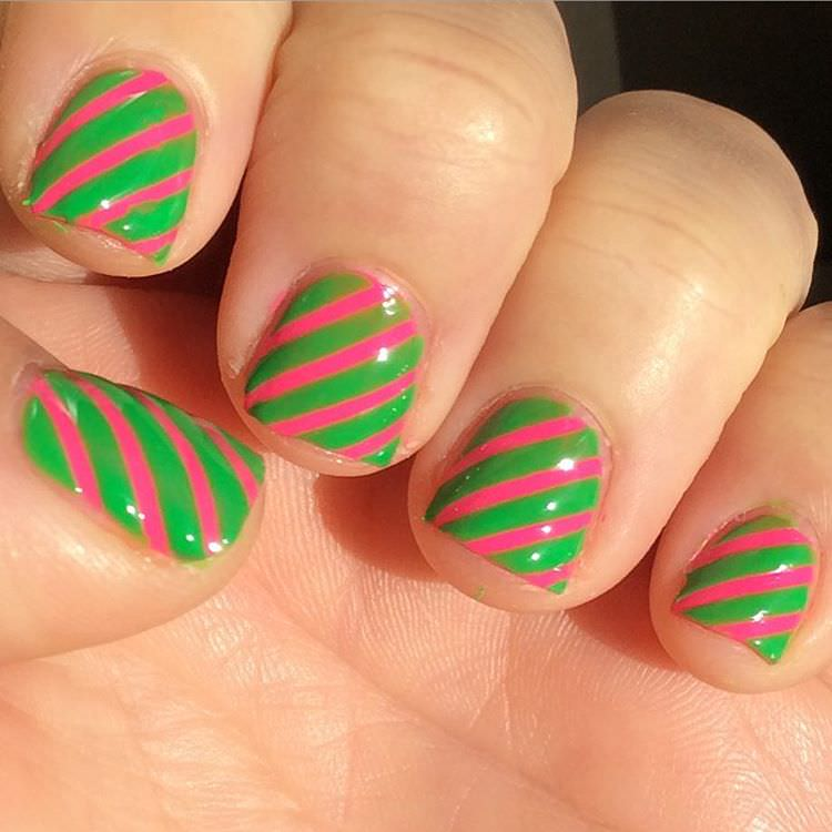 Pink & Green Stripe Nail Design