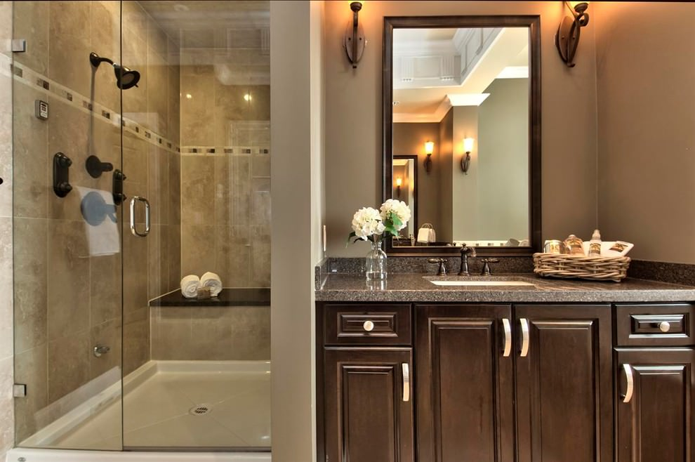 Simple Brown Traditional Bathroom Design